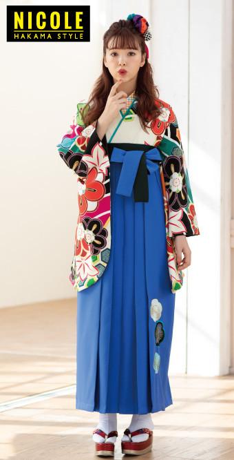 藤田にこるの正統派2尺袖に鮮やかな青が可愛い袴セットの衣装画像1