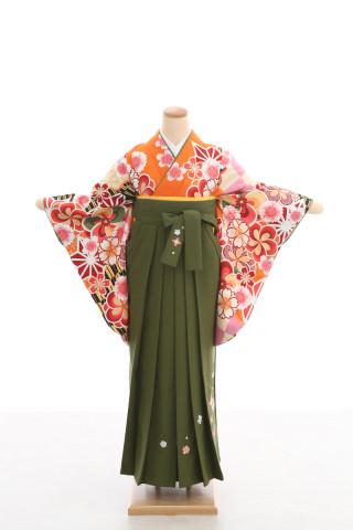 No.4658 卒業袴フルセットレンタル 二尺袖×モダン柄