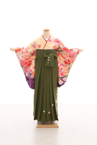 No.5082 卒業袴フルセットレンタル 二尺袖×洋風柄