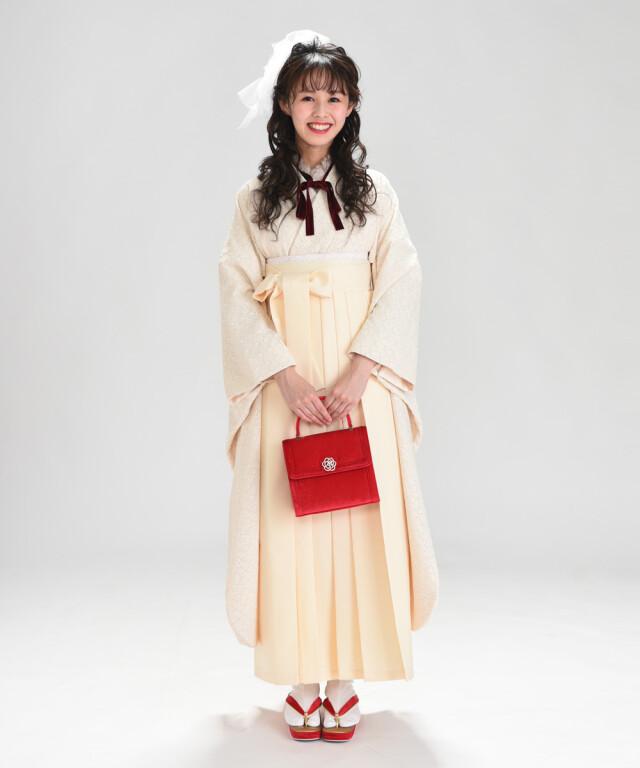 【卒業袴】心ときめく存在感☆レース/アイボリーの衣装画像1