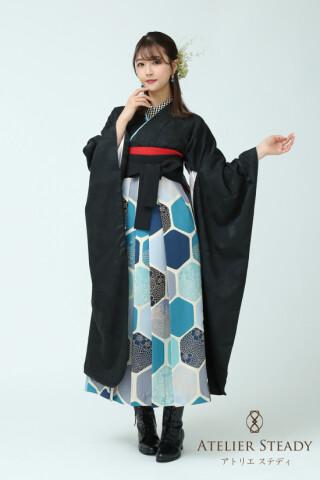 No.5769 アトリエ ステディ オリジナル・黒長袖に青亀甲袴