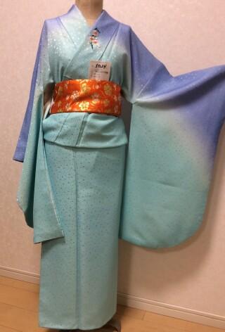 No.5574 水色&青色 襟元ワンポイント刺繍着物