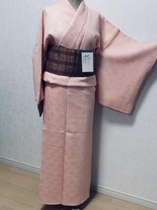 No.5697 ピンク色 総絞り無地着物