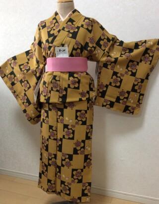 No.5750 カーキ色 桜花柄
